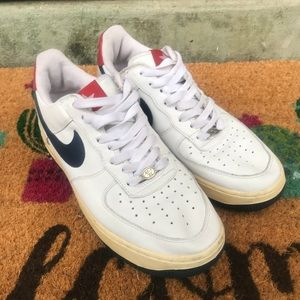 2005 Nike Air Force 1 White Leather Red blue 7.5